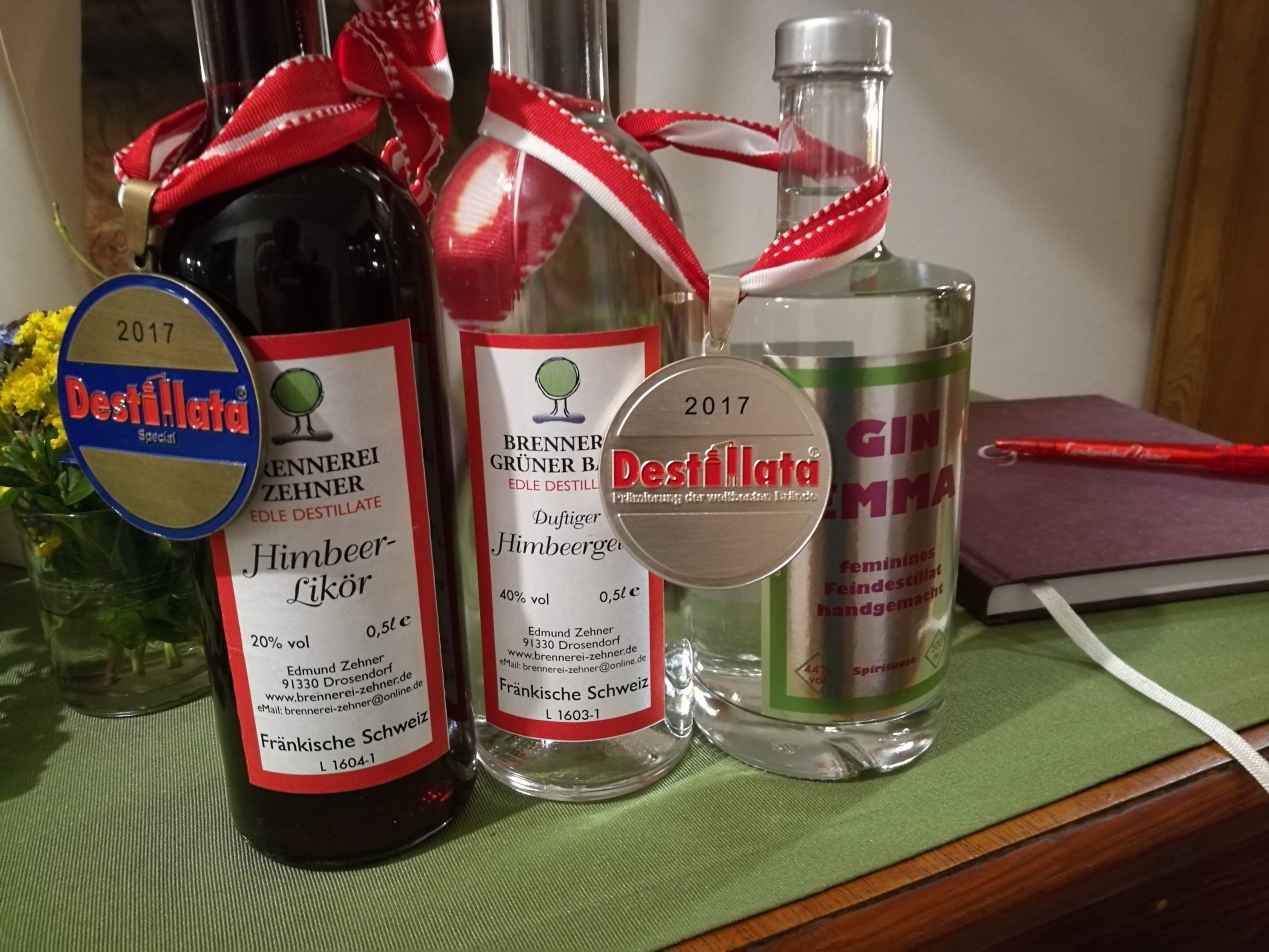 Bottles with award winners included and medals